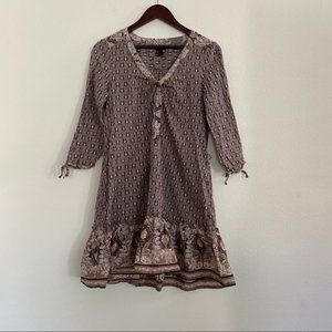 H&M Boho Print Mini Dress Ruffle Hem Size 10